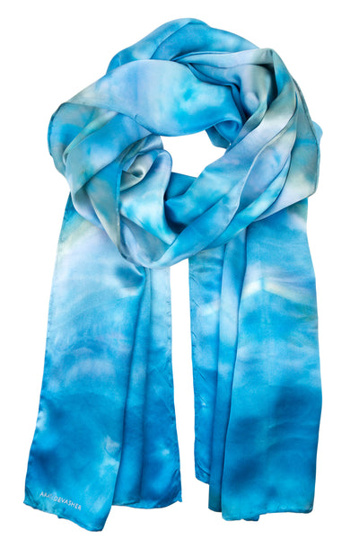 Geometric blue satin silk scarf 45x180 - Shibori collection