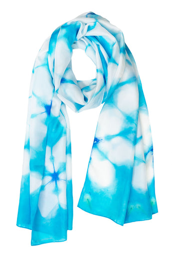 Geometric blue silk scarf 45x180 - Shibori collection