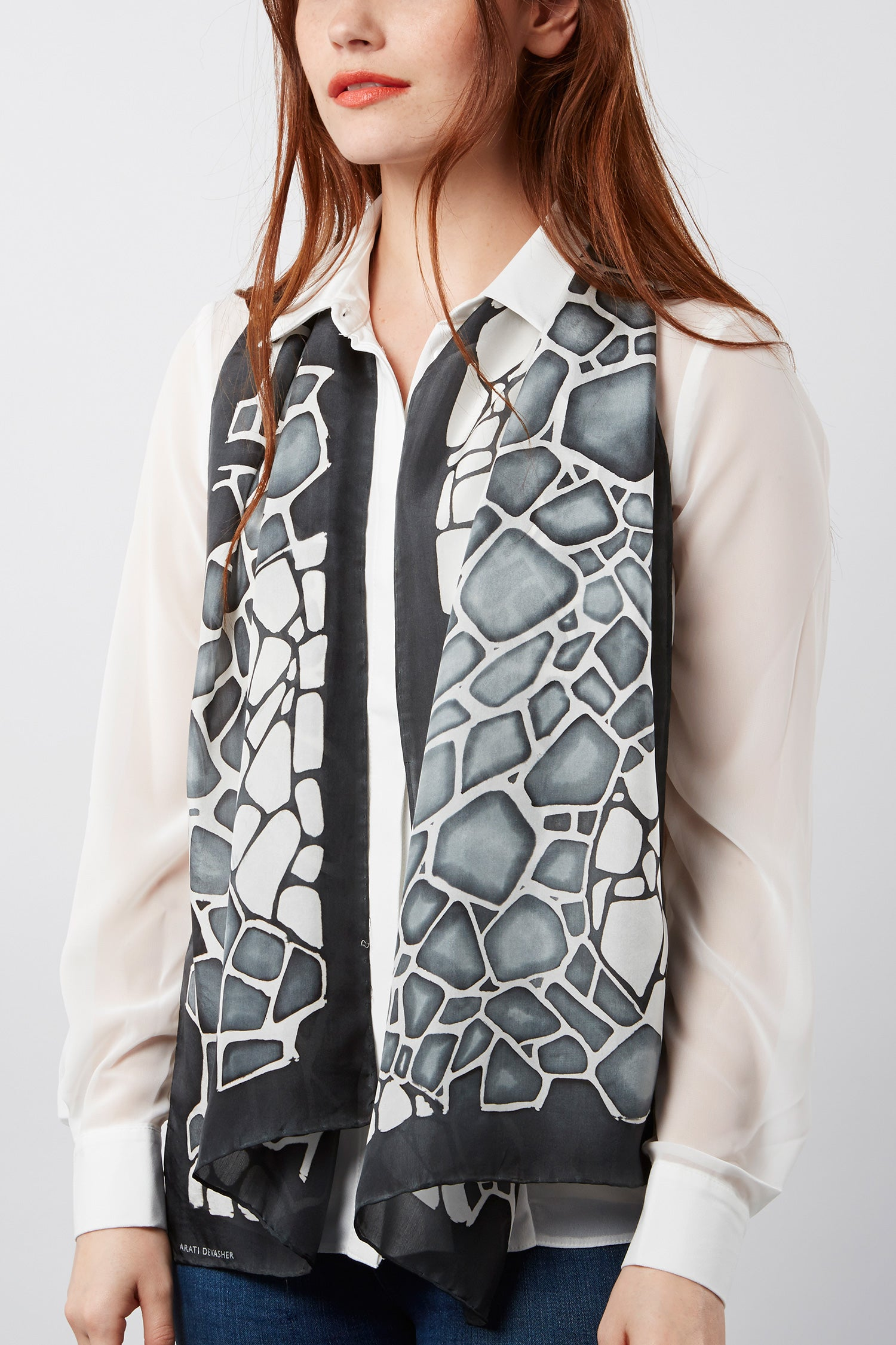 Granite silk scarf