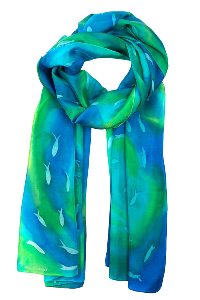 Long blue fish silk scarf 45x180  - Schooling Fish collection