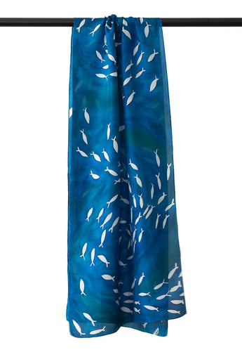 Long blue silk scarf 45x180 - Schooling Fish collection
