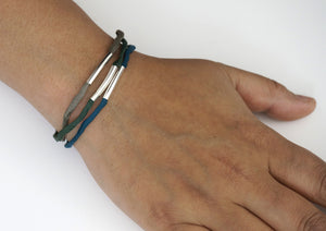 Trine bracelet – green, blue and grey