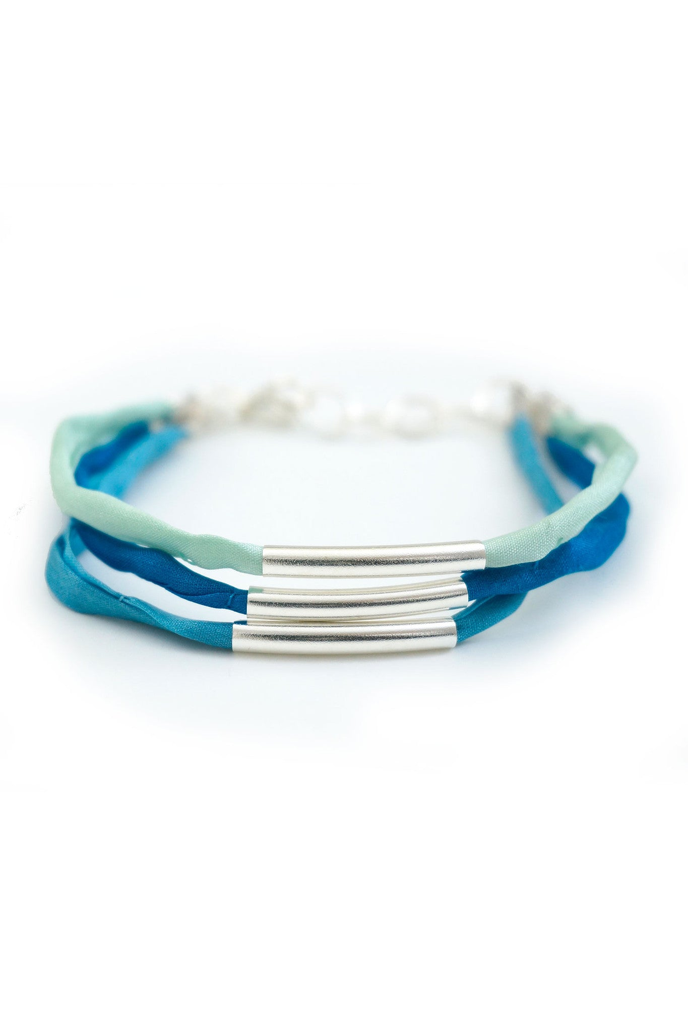 Multi-strand layered tube bracelet with silk cord - blue