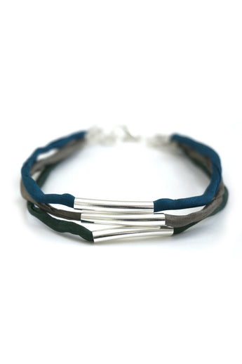 Multi-strand layered tube bracelet with silk cord - green, blue and grey
