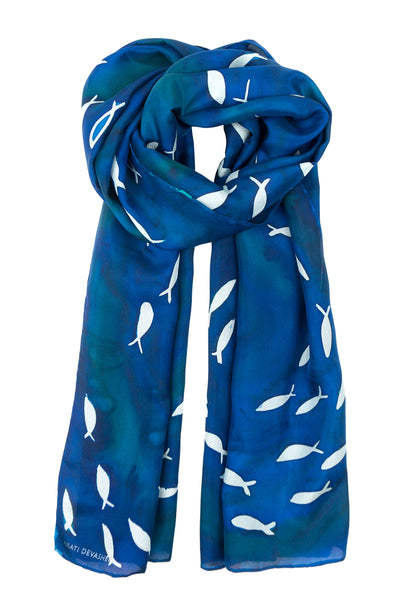Blue silk scarf 40x150 - Schooling Fish collection