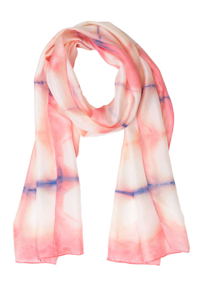 Geometric pink silk scarf 45x180 - Shibori collection