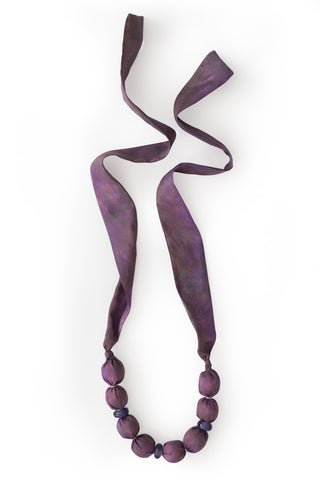 Purple fabric bead necklace - with Murano glass beads