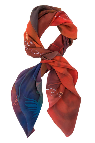 Fish the Deeps red crepe silk scarf 90x90