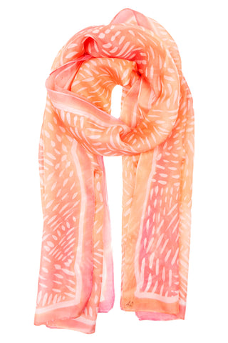 Peach silk scarf 40x150