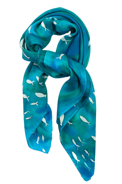 Square blue silk scarf 90x90 - Schooling Fish collection - made to order