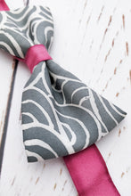 Load image into Gallery viewer, Mr Burgundy Grey bow tie