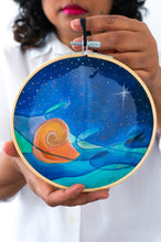 Load image into Gallery viewer, Wall Art: embroidery hoop Nautilus Calm at Night by Arati Devasher London