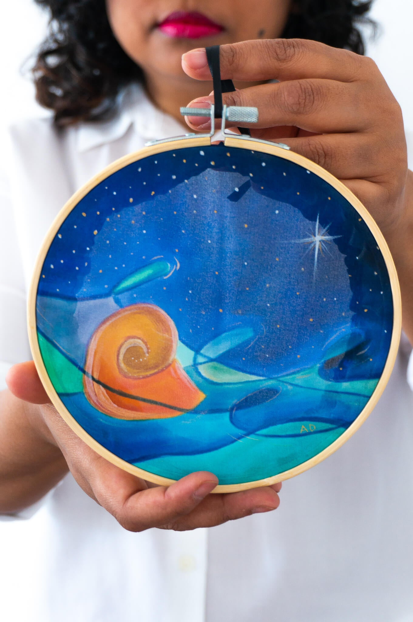 Wall Art: embroidery hoop Nautilus Calm at Night by Arati Devasher London