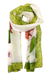 White floral silk scarf 40x150 - Watercolour Florals series