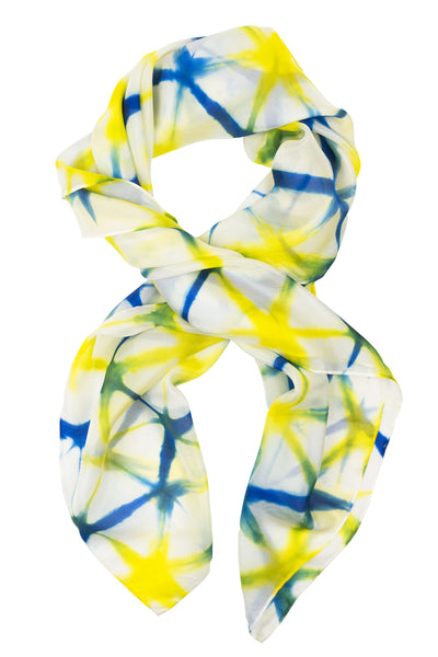 Geometric square yellow silk scarf 90x90 - Shibori collection