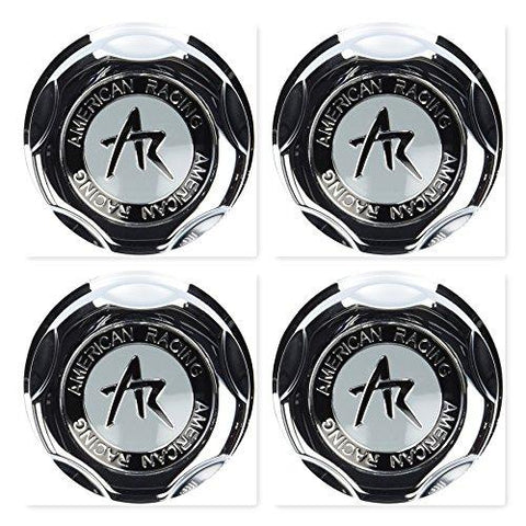 4 Pack American Racing 1342100S Snap-in Center Cap with Silver Logo - The Center Cap Store