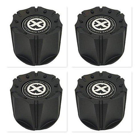 4 Pack American Racing ATX 1342106018 1342100011 1066K98 Black Wheel Center Cap - The Center Cap Store