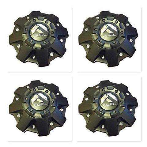 4 Pack Fuel Wheels Black Center Cap CAP 1001-63-B CAP M-447 Five and Six Lugs - The Center Cap Store