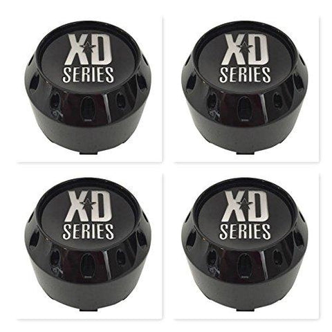 4 Pack KMC XD Series 464K106GB Gloss Black 6 Lug Center Caps - The Center Cap Store
