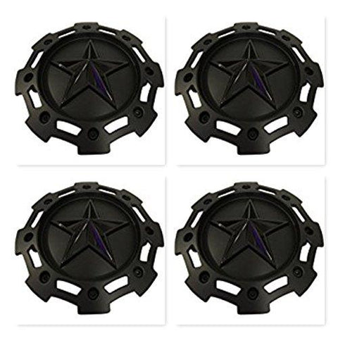 4 Pack KMC XD Series 811 Rockstar 2 Matte Black w Black Star Center Cap SC-198 SC-190 - The Center Cap Store