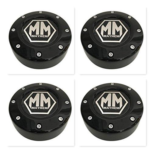 4 Pack Mayhem Wheels 81232090F-3 C1080503B Black Wheel Center Cap 5 Lug - The Center Cap Store