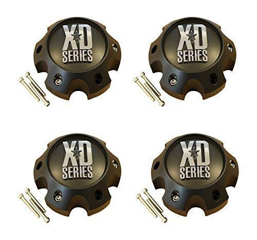 4 x KMC XD Series Spy Addict Revolver Flat Black 6 Lug Ford Center Cap 1079L140 - The Center Cap Store