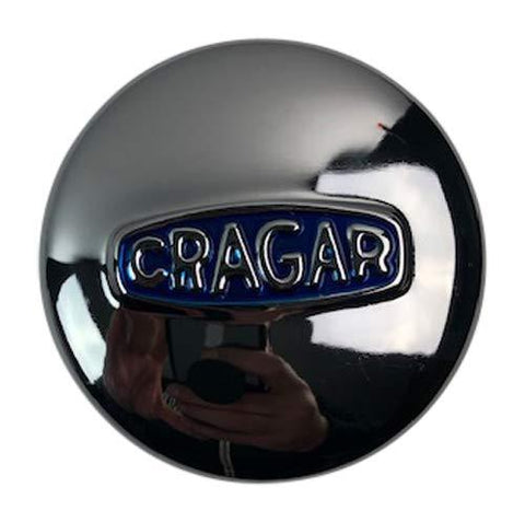 Cragar Wheels 29244-1 3.15 Inch Chrome Center Cap with Blue Logo - The Center Cap Store