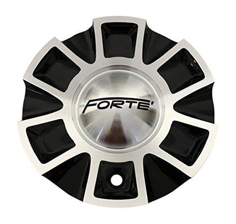 Forte Wheels C-254-2 Black and Machined Wheel Center Cap - The Center Cap Store