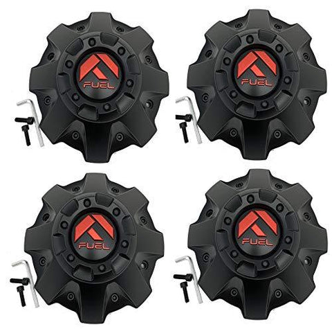 Fuel Matte Black with RED Emblem Wheel Center Cap Set of Four (4) 1001-63MBQ - The Center Cap Store