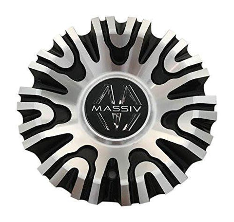 Massiv Wheels PD-CAPSX-P105 Black and Machined Center Cap - The Center Cap Store