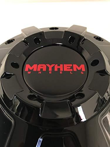 Mayhem Wheels 8104 Arsenal C108104B Gloss Black Cap with Red Logo - The Center Cap Store