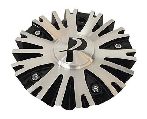 Phino Wheels PW10 CSPW10-1A Black and Machined Center Cap - The Center Cap Store