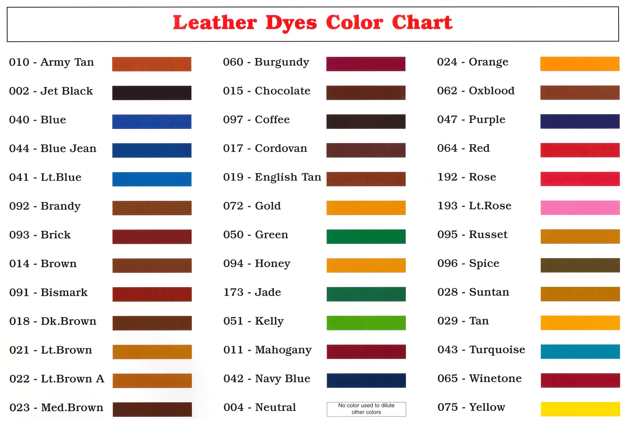 Angelus Leather Dye Color chart