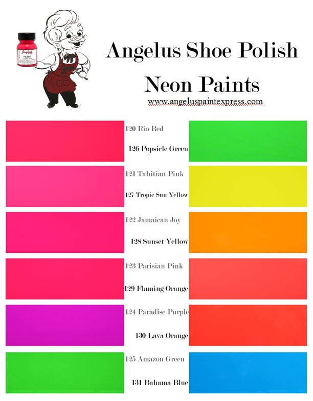 Angelus Leather Paint  Neon Color Chart