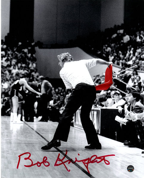 "Bob Knight 'Throwing the Chair' 8"" x 10"" Photo Signed in Red"