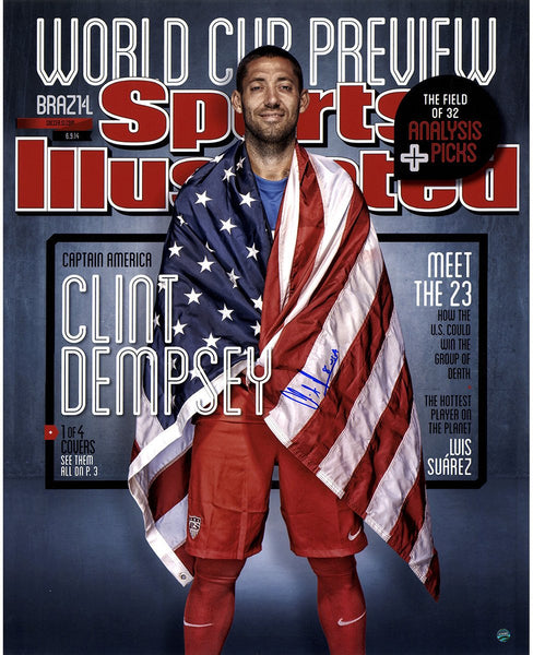 "Clint Dempsey Signed USA Soccer Sports Illustrated Cover 16"" x 20"" Photo"