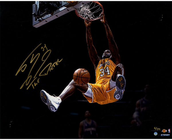 "Shaquille O'Neal Signed Dunk 16"" x 20"" Metallic Photo with ""The Diesel"" Inscription (LE/34)"