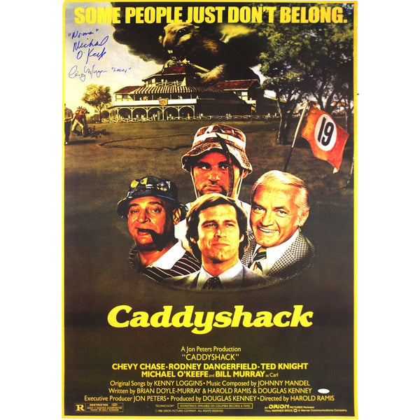 Cindy Morgan and Michael O'Keefe Dual Signed Caddyshack Movie Poste