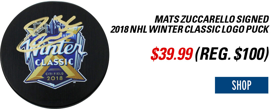 Mats Zuccarello Signed 2018 NHL Winter Classic Logo Puck