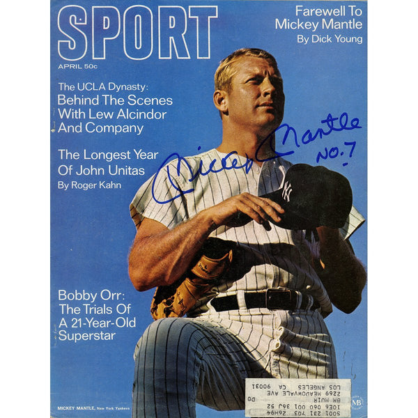 "Mickey Mantle Signed Sport Magazine with ""No 7"" Inscription"
