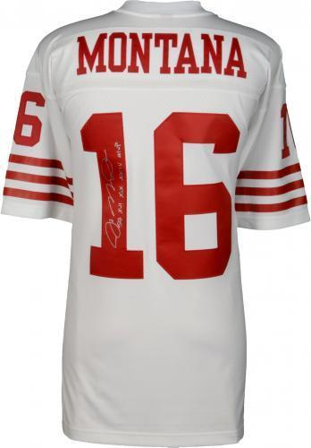 online store 1c165 afee6 Framed Joe Montana San Francisco 49ers Autographed Mitchell & Ness White  Replica Jersey with