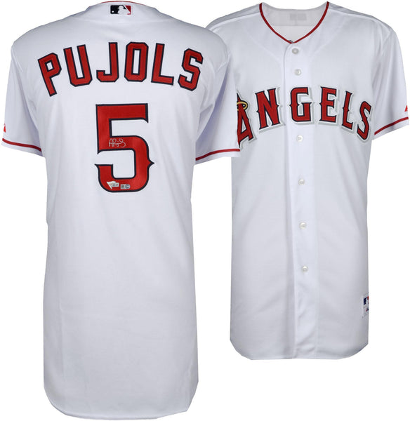 official photos dd0eb c1143 Albert Pujols Los Angles Angles Autographed Majestic White Replica Jersey