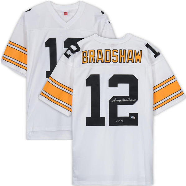 Nice Terry Bradshaw Pittsburgh Steelers Autographed White Mitchell & Ness  for cheap