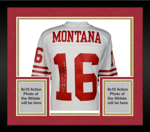 online store 7f316 e3452 Framed Joe Montana San Francisco 49ers Autographed Mitchell & Ness White  Replica Jersey with