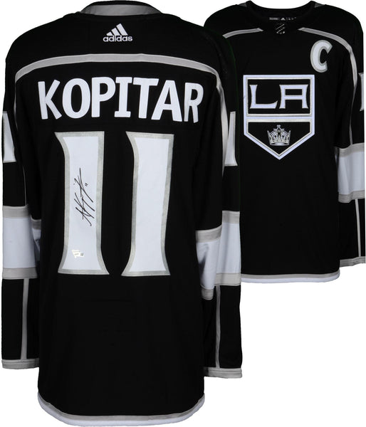 buy online 86ed4 ba8fa Anze Kopitar Los Angeles Kings Autographed Black Adidas Authentic Jersey