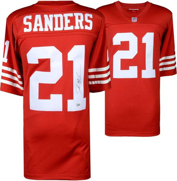 the latest 43703 044d7 Deion Sanders San Francisco 49ers Autographed Mitchell & Ness Red Replica  Jersey