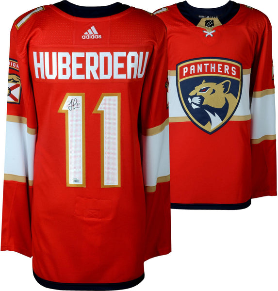 brand new 62fa1 fafcb Jonathan Huberdeau Florida Panthers Autographed Red Adidas Authentic Jersey