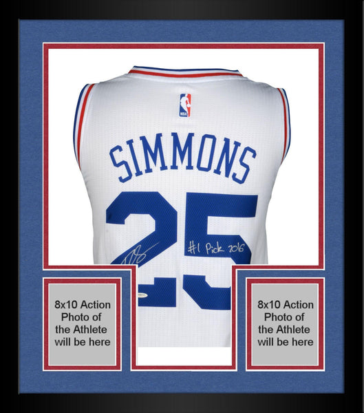 sale retailer ad170 5a859 Framed Ben Simmons Philadelphia 76ers Autographed White Jersey with
