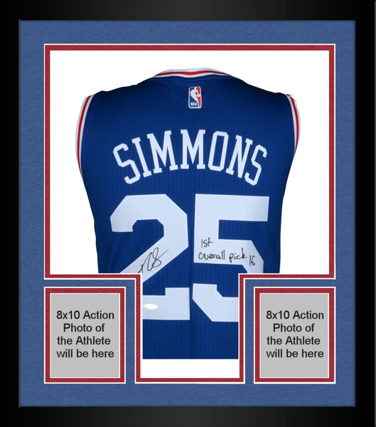 newest f49a9 2da0e Framed Ben Simmons Philadelphia 76ers Autographed Blue Swingman Jersey with