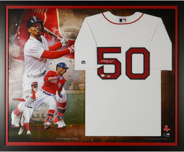 huge discount 6759c 45e71 Mookie Betts Boston Red Sox Framed Autographed Majestic White Replica  Jersey Collage